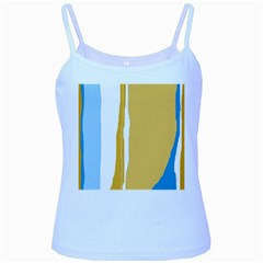 Blue and yellow lines Baby Blue Spaghetti Tank