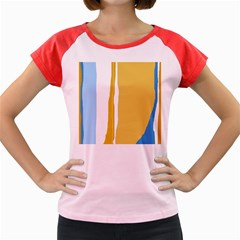 Blue and yellow lines Women s Cap Sleeve T-Shirt