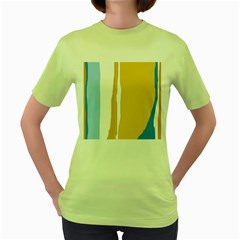 Blue and yellow lines Women s Green T-Shirt