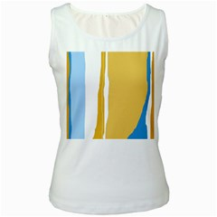 Blue and yellow lines Women s White Tank Top