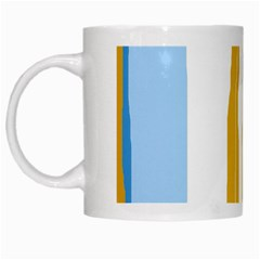Blue and yellow lines White Mugs