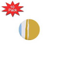 Blue and yellow lines 1  Mini Buttons (10 pack)