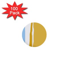 Blue and yellow lines 1  Mini Buttons (100 pack)