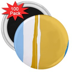 Blue and yellow lines 3  Magnets (100 pack)