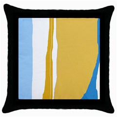 Blue and yellow lines Throw Pillow Case (Black)
