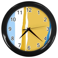 Blue and yellow lines Wall Clocks (Black)