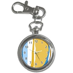 Blue and yellow lines Key Chain Watches