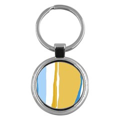 Blue and yellow lines Key Chains (Round)
