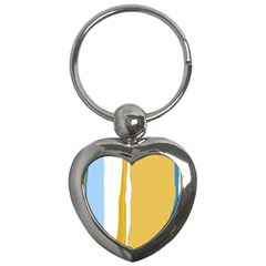 Blue and yellow lines Key Chains (Heart)