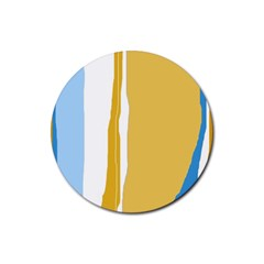 Blue and yellow lines Rubber Round Coaster (4 pack)