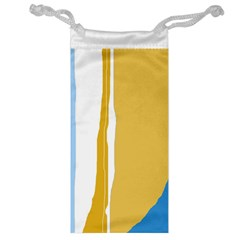 Blue and yellow lines Jewelry Bags