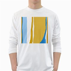 Blue and yellow lines White Long Sleeve T-Shirts