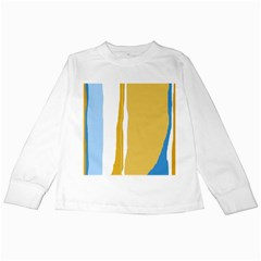 Blue and yellow lines Kids Long Sleeve T-Shirts