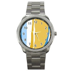 Blue and yellow lines Sport Metal Watch