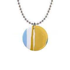 Blue and yellow lines Button Necklaces