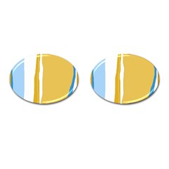 Blue and yellow lines Cufflinks (Oval)