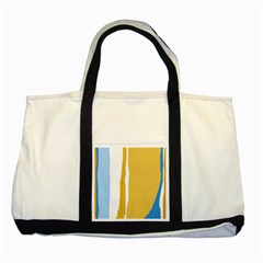 Blue and yellow lines Two Tone Tote Bag