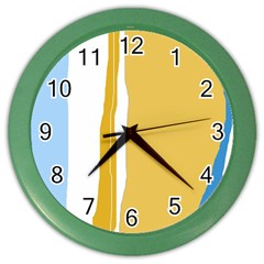Blue and yellow lines Color Wall Clocks