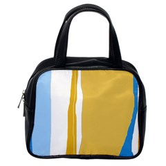 Blue and yellow lines Classic Handbags (One Side)