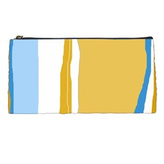 Blue and yellow lines Pencil Cases