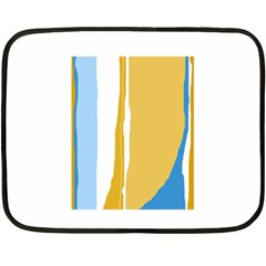 Blue and yellow lines Double Sided Fleece Blanket (Mini)
