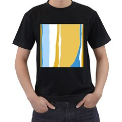 Blue and yellow lines Men s T-Shirt (Black)