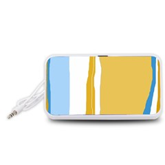 Blue and yellow lines Portable Speaker (White)