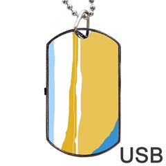 Blue And Yellow Lines Dog Tag Usb Flash (one Side)