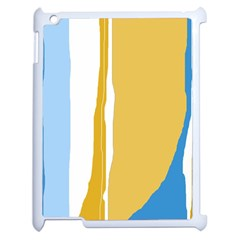 Blue and yellow lines Apple iPad 2 Case (White)