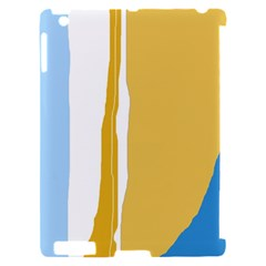 Blue and yellow lines Apple iPad 2 Hardshell Case (Compatible with Smart Cover)