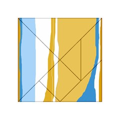 Blue and yellow lines Acrylic Tangram Puzzle (4  x 4 )