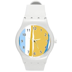 Blue and yellow lines Round Plastic Sport Watch (M)
