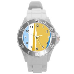 Blue and yellow lines Round Plastic Sport Watch (L)