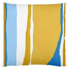 Blue and yellow lines Large Cushion Case (Two Sides)