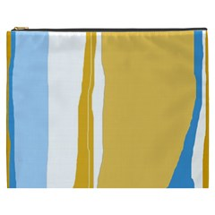 Blue and yellow lines Cosmetic Bag (XXXL)