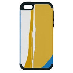 Blue and yellow lines Apple iPhone 5 Hardshell Case (PC+Silicone)