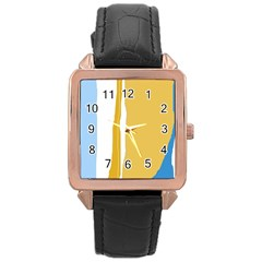 Blue and yellow lines Rose Gold Leather Watch