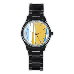 Blue and yellow lines Stainless Steel Round Watch