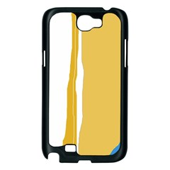 Blue and yellow lines Samsung Galaxy Note 2 Case (Black)