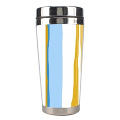 Blue and yellow lines Stainless Steel Travel Tumblers