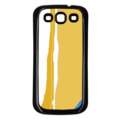 Blue and yellow lines Samsung Galaxy S3 Back Case (Black)