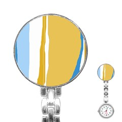 Blue and yellow lines Stainless Steel Nurses Watch