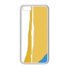 Blue and yellow lines Apple iPhone 5C Seamless Case (White)