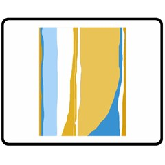 Blue and yellow lines Double Sided Fleece Blanket (Medium)