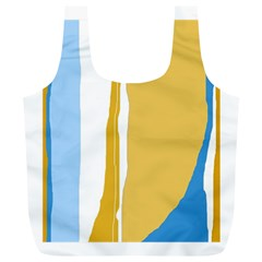 Blue and yellow lines Full Print Recycle Bags (L)