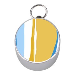 Blue and yellow lines Mini Silver Compasses