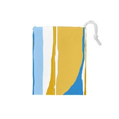 Blue and yellow lines Drawstring Pouches (Small)