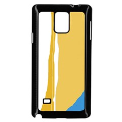 Blue and yellow lines Samsung Galaxy Note 4 Case (Black)