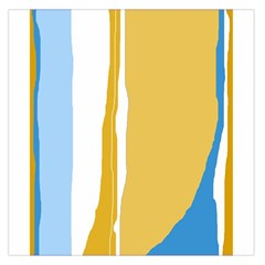 Blue and yellow lines Large Satin Scarf (Square)
