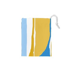 Blue and yellow lines Drawstring Pouches (XS)